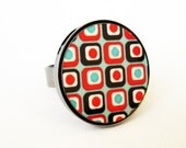 Retro Geometric Ring In Red And Turquoise - Geometric Jewelry - Square Jewelry - Colorful Jewelry - Statement Jewelry