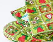 Vintage kitchen set, pot holder, oven mitt, dish cloth, green and red apples & flowers, JCPenney NOS with tags