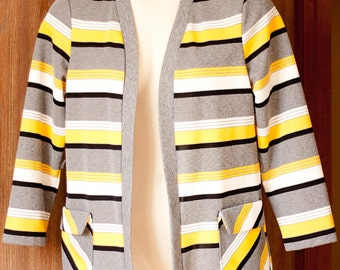 Vintage Stylecraft womens cardigan shirt, yellow gray striped polyester, size 18