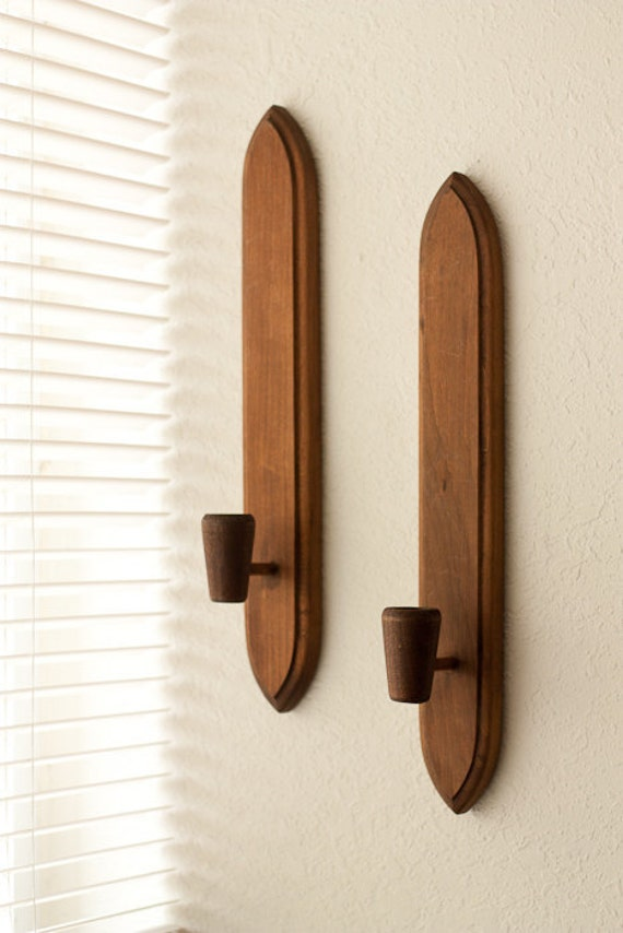 Vintage wall sconces from HODA wooden candle by TarragonVintage