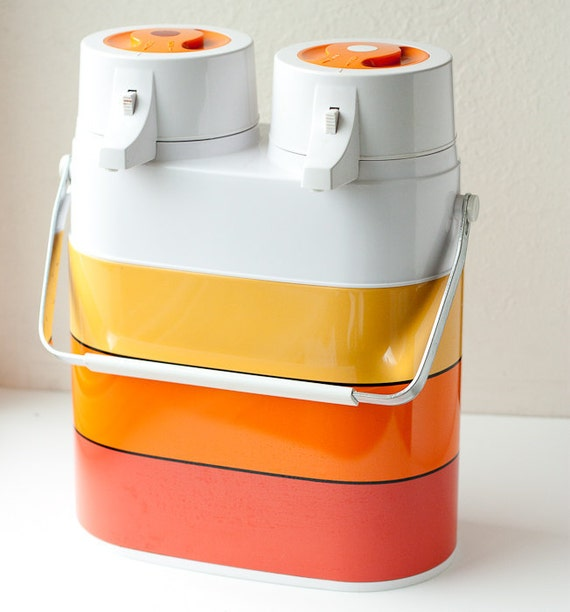 Vintage Thermos: Twin Airpot hot or cold double pump thermos in yellow, orange and red, Air Pot Interpur Dart Industries