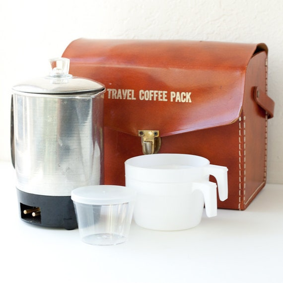 Portable Compact Coffee Maker : Vintage Travel Coffee Pack portable percolator by TarragonVintage