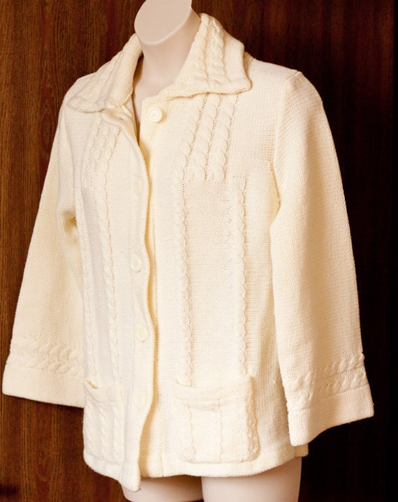 Vintage cardigan sweater, off-white cream, bell sleeves, cables and square front pockets