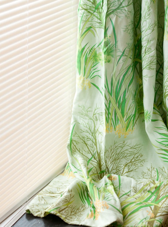 Vintage drapes, set of two Montgomery Ward curtains, green nature scenes of trees, flowers and grass