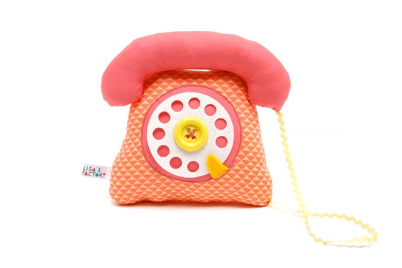 phone dial telephone play cushion velcro handset pink salmon yellow graphic pattern - telephone a cadran combiné avec velcro