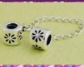 Beautiful homemade 925 sterling silver charm bead fit PANDORA troll chamilia biagi bracelet  DAISY Safety Chain