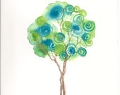 Tree Art  with Spirals Watercolor  Print