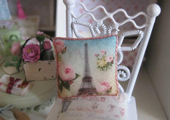 Dollshouse Miniature Cushion. Eiffel Tower and Roses 20. Shabby Chic.