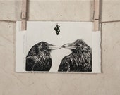 Love...The Kiss:  Raven Etching Under the Mistletoe