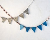 Silver Sparkles Pennant Bunting Necklace