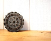 Asian Industrial Vintage Textile Wood Round Stamp