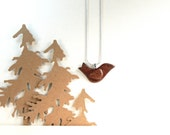 Brown Woodland Bird Recycled Pendant