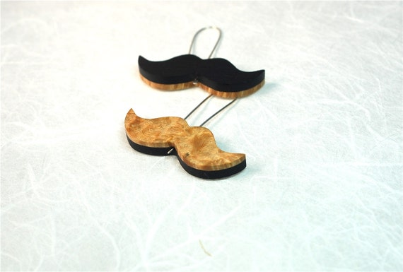Blonde and Brunette Mustache Earrings