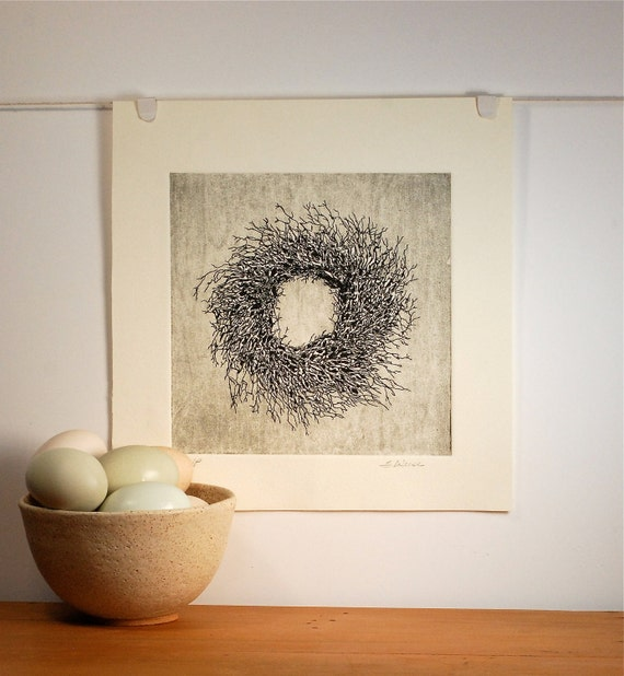 Reserved :Twig Wreath Etching Fine Art Print