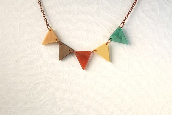 Autumn Beauty Under 40  Geometric Triangle Bunting Necklace