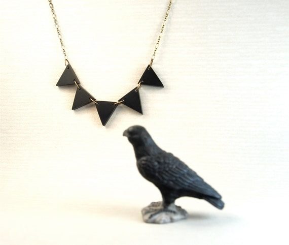 Black Beauty Triangle Geometric Modern Design Recycled Necklace