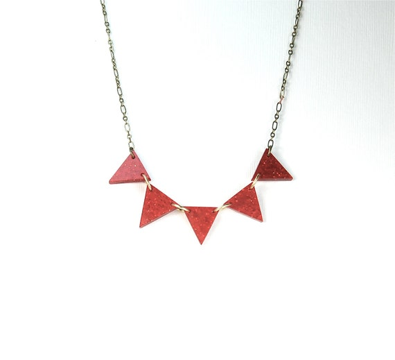 Red Pennant Banner Mid Century Modern  Necklace