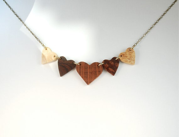 Norwegian Wood 5 Heart Recycled Necklace for Her for Valentines Day
