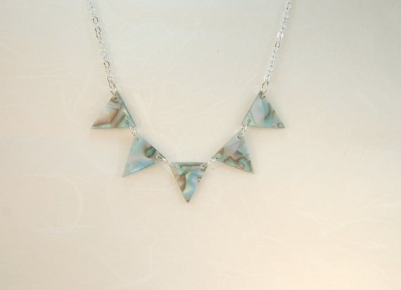 Faux Shell Blue Triangle Pennant Necklace