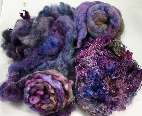 Spinning fiber: fleece, locks, roving mix, wensleydale, bfl, mohair, milk sheep, 8.2 oz