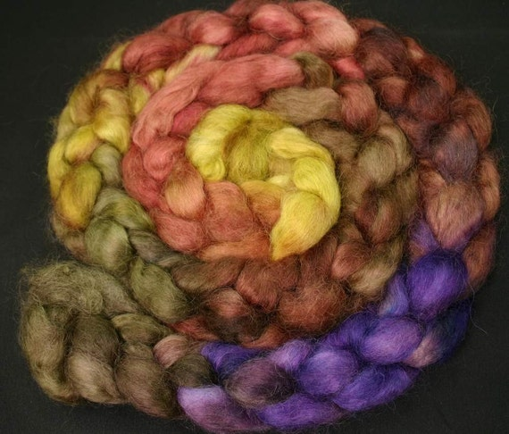 Roving Wensleydale, hand painted spinning fiber top, 5.9 oz