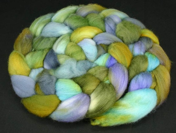 Merino roving hand painted spinning fiber top, 3.7 oz
