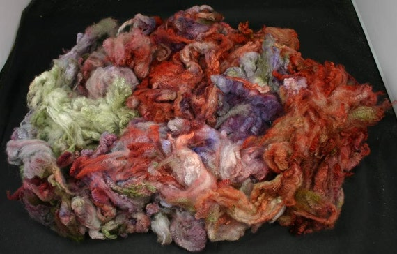 Maco Merino fleece, very soft, hand painted fiber for spinning and felting, 2.9 oz