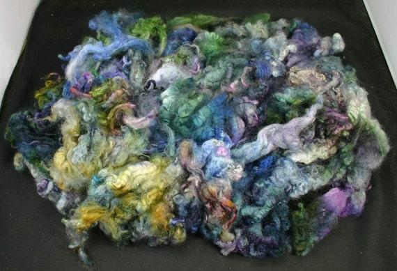 Romney lamb lock soft fleece, hand painted fiber for spinning and felting, 4.4 oz