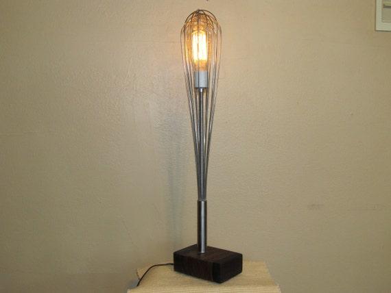 """24"""" Kitchen Whisk Lamp on Bocote Hardwood Base with Vintage Style Bulb"""