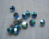 Vintage Swarovski Emerald AB Art. 1100 Rhinestones 19ss 4.40-4.60 QTY - 12