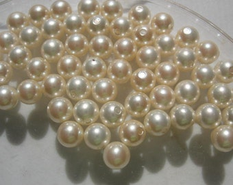 Vintage Swarovski Cream Pearls 6mm half drilled made in Japan QTY - 2