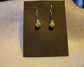 Small Mellifiori Dangle Earrings in Blue and Yellow- available as clip on too