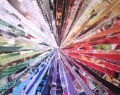 "ColorWheel - Original Art Collage 12""x13.75"" Decoupage Paper on Corrugated Cardboard"