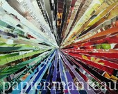 """PRINT:  Colorwheel 5-1/2""""x 4-1/2"""" Signed Abstract Art Collage"""