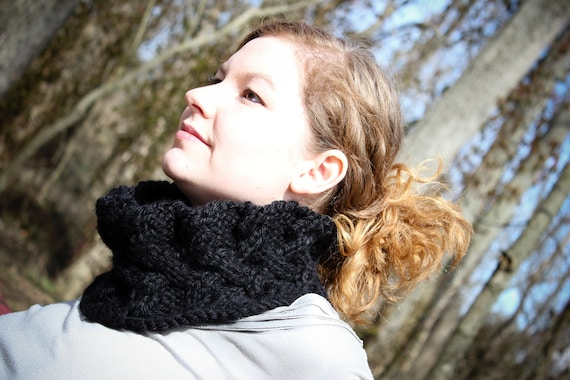 "Cabled Cowl - ""The Dark Knit"" - Black chunky cabled cowl - Handmade"