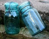 Blue Ball Jars -Bicentennial 1976 - Tight Seal  - 2, Teal, Blue