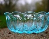 Depression Glass Bowl, Blue, Neon