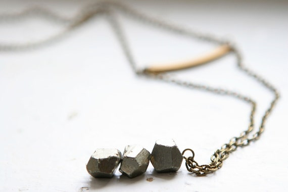Faceted Pyrite Necklace with Vintage Elements
