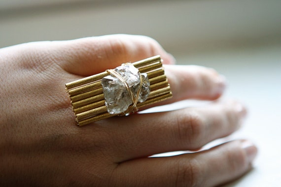 Herkimer Diamond Ring with Vintage Accents (as featured on the Today Show)