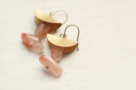 Red Hematoid Quartz & Vintage Accent Earrings