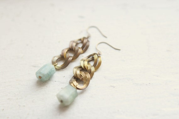 Aquamarine and Vintage Link Earrings