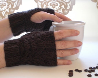 Organic Cotton Fingerless Gloves - Coffee Bean