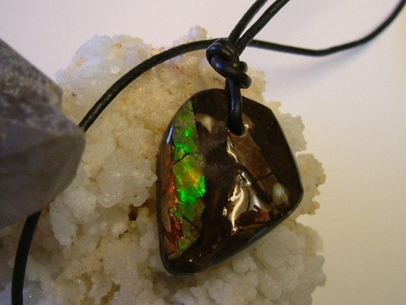 """Bright Red, Green and Yellow/Gold Color Ammolite Found in Utah Deposit, Mens Necklace with 26"""" Adjustable Synthetic Leather Cord 103"""