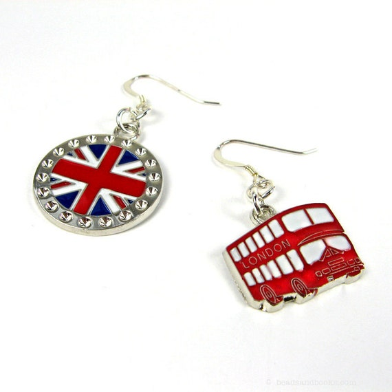 London Earrings (British Flag, Red Double Decker Bus, Olympics)