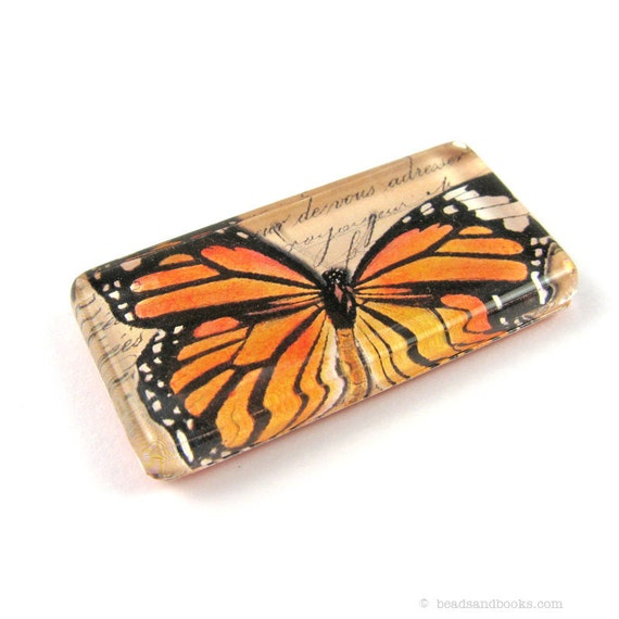 Monarch Butterfly Magnet: Glass Tile Magnet