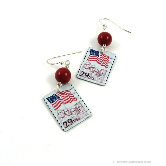 Patriotic Earrings (Flag Stamp Jewelry, 4th of July, USA, America, Red, White, and Blue)