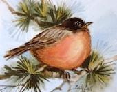 Robin Whimsical Bird Art Watercolor Print