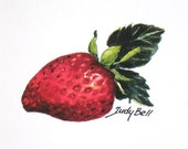 Strawberry, Fruit Art Print, Small Art,  Watercolor Painting