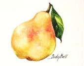 Yellow Pear Print, Fruit Art, Watercolor Painting