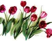 Burgandy Tulips - Watercolor Painting - Wall Decor